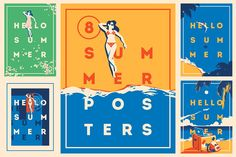 8 Summer Time Posters & Badge Bundle by Alexander Baidin on @creativemarket