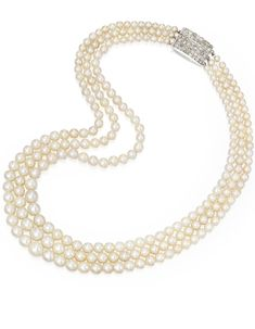 Natural Pearl and Diamond Necklace | lot | Sotheby's