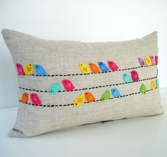 Birds on a wire cushion. I just exploded with cute.