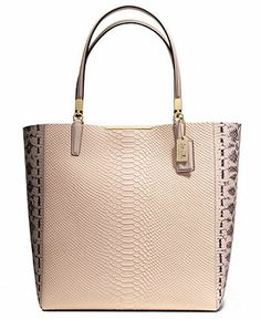 04720bf8a2 COACH MADISON NORTH SOUTH BONDED TOTE IN PYTHON EMBOSSED LEATHER Handbags    Accessories - COACH - Macy s