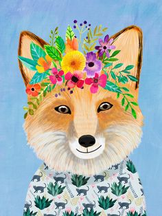 Fox with Floral Crown Art Print – Funny Decoration Gift – Cute Room Decor – Poster by Mia Charro Fox Illustration, Illustrations, Forest Friends, Tapestry Wall Hanging, Wall Tapestries, Floral Crown, Nursery Art, Cute Art, Amazing Art