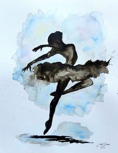 Original Ballerina Painting India ink by LimonArtStudio Art Ballet, Ballerina Painting, Ballerina Art, Dance Paintings, India Ink, Ink Art, Painting Inspiration, Watercolor Paintings, Art Projects