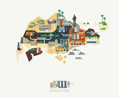 Singapore Map Illustrations by Jing Zhang