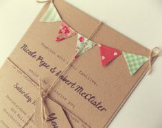Mint and Pink Rustic Wedding Invitation by FromLeoniWithLove