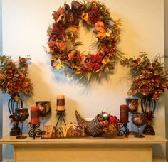 Fall mantle decor!