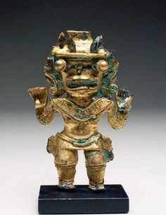 Quimbaya Gold Shaman-Jaguar Transitional Figure - Pre-Columbian, Colombia, Quimbaya, ca. 1000 CE. The Quimbaya civilization is renowned for its goldwork, demonstrating both fine technical accuracy and remarkably detailed designs. These artisans relished depicting anthropomorphic figures. In this case we have a shaman undergoing a transformation to a jaguar state.