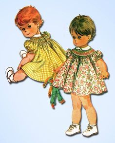 1960s Vintage Baby Girls Smocked Dress 1965 McCalls Vtg Sewing Pattern Size 1/2 #McCallsPattern #DressPattern