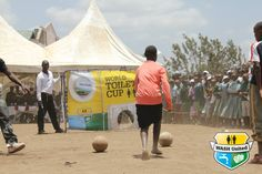 Playing the World Toilet Cup game. (Kenya)