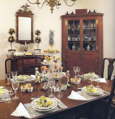 Williamsburg Fall - In the eighteenth century a symmetrical display on the dining table was extremely important. Here Staffordshire gods & a goddess ring antique salvers on which fresh & dried fruits, nuts, candied peels, dried flowers & small Staffordshire rabbits have been carefully arranged according to the custom of that time. A miniature pineapple on a bed of chopped peel is placed in a goblet at the top. Small shell dishes between the figurines hold marzipan & candied peels.
