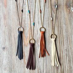 Soft deerskin leather fringe tassel on a handcrafted hammered ring hangs from a rolo chain adorned with tiny gemstone beads. Choose from 9 leather colors and 5 different gemstones to make it uniquely yours. Gold Bar Necklace, Circle Necklace, Leather Necklace, Diy Necklace, Tassel Necklace, Boho Jewelry, Jewelry Crafts, Jewelry Accessories, Handmade Jewelry