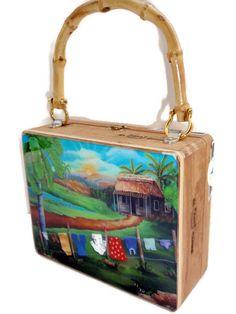 Cigar Box purse w artwork on top .