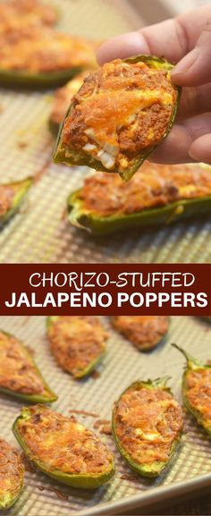 Chorizo-Stuffed Jalapeno Poppers filled with chorizo, cream cheese, and shredded Mexican cheese blend are the perfect game day eats! They're smoky, spicy, creamy and full of bold flavors you'll love in an appetizer! #jalapenopoppers #appetizer #chorizo #stuffedjalapenos