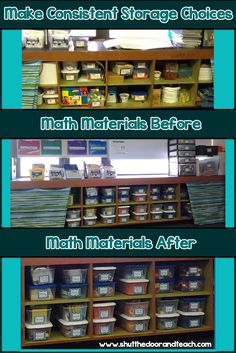 Looking for a more organized manipulatives shelf? Consistency is key. Blog post via Shut the Door and Teach.