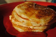 Greek yogurt pancakes.... High protein, low carb with only 1/2 cup flour. Very moist and rich. Hubby says they taste like dessert. Yum!!