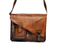"Vintage Leather Messenger Bag 15"" x 11"" x 4"""