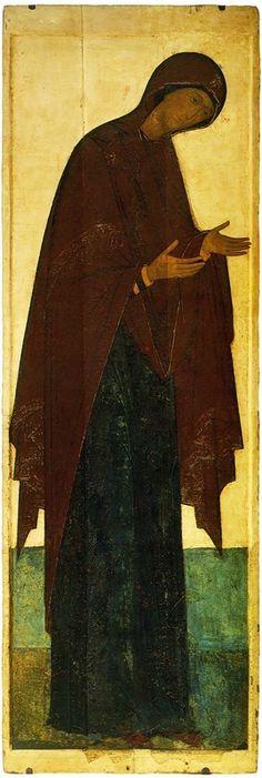 Deisusnyj-chin-(Vladimir-Uspenskij-sobor-1408)-4--Bogomater-(313-h-108-sm)-(Tretyakovskaya-galereya).