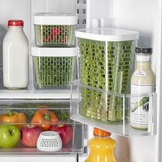 Stop throwing out produce. Food storage options to keep your food fresher longer. Product Shown: OXO Greensaver Herb Keeper Apartment Kitchen Organization, Refrigerator Organization, Diy Kitchen Storage, Kitchen Pantry, Kitchen Hacks, Kitchen Gadgets, Home Organization, Organised Kitchen Diy, Freezer Organization