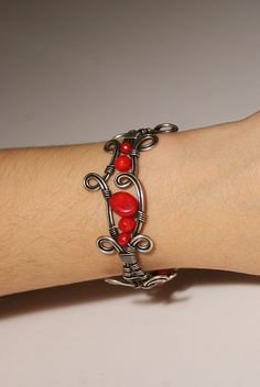 coral bangle jewelryred coral braceletwire wrapped by BeyhanAkman, $39.00