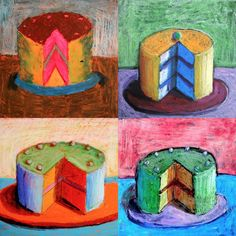 Cakes inspired by Wayne Thiebaud is part of subjects School Art - Wayne Thiebaud is an American artist who worked in the He is often associated with the Pop Art because of his choice of subjects (objects symbol of consumerism such as cakes, candies,… Art Lessons For Kids, Art Lessons Elementary, Art For Kids, Middle School Art, Art School, Oil Pastel Art, Oil Pastels, 8th Grade Art, Ecole Art