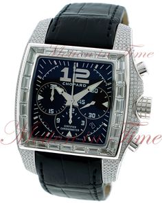 Chopard Two O Ten Your Hour Tycoon Chronograph, Black Dial, Baguette Bezel, Diamond Case - White Gold on Strap
