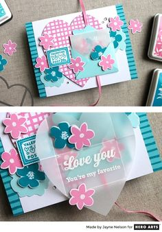 Interactive card by Jayne Nelson featuring Hero Arts Love Note Pair Fancy Dies
