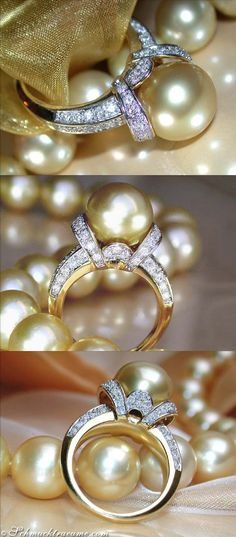 Golden Southsea Pearl and Diamond Ring