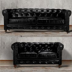 Made from sheer black leather. This iconic black tufted chesterfield sofa and loveseat set offers a cozy, elegant look. They will combine style and comfort in your living room or family room. With classic lines and a gorgeous tufted back, the sofa is finished with decorative nailhead trim accents that add the perfect finishing touch.