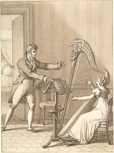 Design for a Book Illustration: a Man Approaching a Woman Playing a Harp