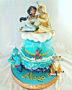 Splendid Aladdin and Jasmine Cake made by Torte decorate di Stefy Aladdin Cake, Aladdin Party, Disney Themed Cakes, Disney Cakes, Jasmine Birthday Cake, Princess Jasmine Cake, Cake Pops, Bithday Cake, Cake Models