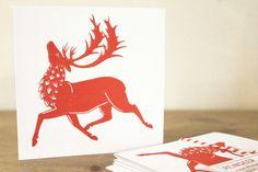 Reindeer Christmas Cards, Hand Printed Screen Print - Set of 3. £5.00, via Etsy.