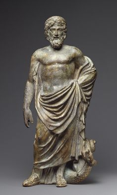 Statuette of Asklepios. Artist/Maker(s): Unknown. Culture: Roman. Place(s): Roman Empire (Place created). Date: first half of 2nd century. Medium: Bronze. Dimensions: 16.5 cm (6 1/2 in.).