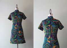 60s Mini Dress / Vintage 1960s Aztec Print Scooter by HolliePoint, $30.00