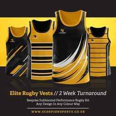 Scorpion Sports - Providing bespoke sportswear for various sports. Choose any vest or shirt design and use any colour scheme to give your shirt a unique look tailored to your club. Volleyball Jerseys, Basketball Uniforms, Rugby Jerseys, Rugby Jersey Design, Rugby Kit, Jersey Outfit, Custom T Shirt Printing, Clothing Displays, Athletic Wear