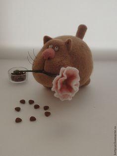 """Игрушка Кот из шерсти """"Я Вас лю..."""" - коты и кошки,коты ручной работы"""