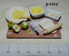 Let´s bake an apple pie (miniature, polymer clay). Preparando tarta de manzana (miniatura, arcilla polimérica).