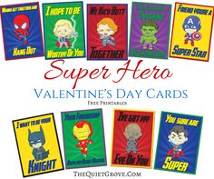 Free Super Hero Valentine's Day Card Printables! Diy Arts And Crafts, Diy Crafts, Valentine's Day Printables, Cute Diys, Valentine Day Cards, Holiday Crafts, Something To Do, Coloring Pages, Card Making