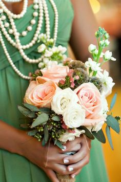 Pearls and roses for the bridesmaid! {J.Messer Photography}