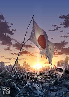 Tokyo Post-Apocalisse by Tokyo Genso - The Japanese Dreams Dystopian Art, Guerra Anime, Post Apocalyptic Art, Ruined City, Apocalypse Art, Japan Image, Aesthetic Japan, Japan Post, Fantasy Landscape