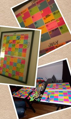 Made 2 month calendar out of post-it's. -Buy a large frame with either plastic or glass. -Then flip the paper inside to the blank side. - Place 7 across the top, 5 down then fill in. -Frame everything back up, then use your dry erase markers on the outside. :)