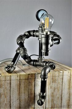 Iron Pipe Robot Lamp Plumbing Pipe Robot Lamp Robot L .
