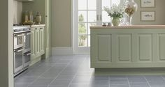 cherry cabinets with grey vinyl floors - Google Search