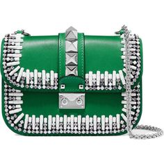 Valentino Lock embellished two-tone leather shoulder bag ($2,745) ❤ liked on Polyvore featuring bags, handbags, shoulder bags, green, valentino shoulder bag, leather purse, green handbags, green leather purse and genuine leather handbags #valentinohandbag