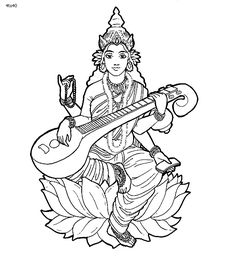 Hindu Goddess Saraswati Coloring Page - Kids Portal For Parents