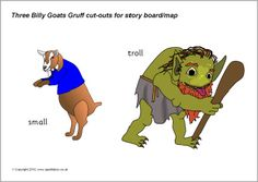 FREE -3 Billy Goats Gruff story cut-outs  - I have used this story to work on speech sounds (G-goat,TR-trip trap), I AM, and size concepts (small, medium,big.)  There are more than 20 other stories with printables on this site!! Repinned by www.preschoolspeechie.com
