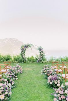 Not Your Everyday Wedding Color Palette With The Amalfi Coast As The Backdrop! Not Your Everyday Wedding Color Palette With The Amalfi Coast As The Backdrop! Purple And Green Wedding, Purple Wedding Flowers, Wedding Colors, Whimsical Wedding Flowers, Blue Wedding, Pink Flowers, Summer Wedding, Wedding Ceremony Ideas, Backdrop Wedding