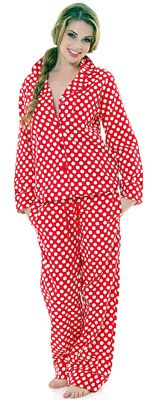 Jessie Steele Red & White Polka Dot Pajamas.  Just right for a night at home watching movies