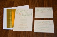 Green, gold & peach wedding invitations by Something Printed