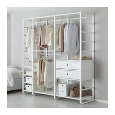 IKEA - ELVARLI, 3 secções, Prateleiras e varão reguláveis; adapte de acordo com as suas necessidades.Se precisar de mais espaço em cima, mova a prateleira e o varão para baixo.Gavetas com amortecedores para que fechem devagar e silenciosamente.