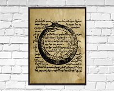 Ancient Uroboros old poster, Symbolic wall decor, dictionary print, ancient book page art, ouroboros Book Page Art, Book Pages, Sacred Meaning, How To Age Paper, Ancient Vikings, Viking Art, Printed Pages, Flower Of Life, Antique Prints