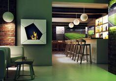 Biokominek Ball  to prawdziwy ogień, bez dymu, sadzy i popiołu. Do powieszenia na ścianie w restauracji lub pubie. Designem nawizuje do piki nożnej. Nie wymaga instalacji ani przewodu kominowego. https://www.bioflame.pl/produkt/biokominek-wiszacy-ball/